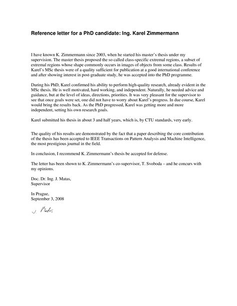 reference letter phd candidate write