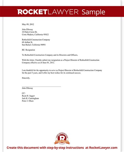 Resignation Letter Of Director Pdf Director Resignation Letter Template With Sle