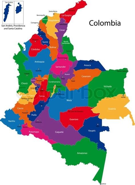 colombia vector map colombia map stock vector colourbox