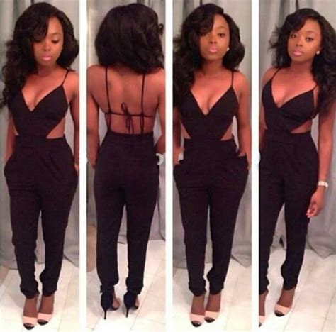 womens black strap backless sexy bodycon jumpsuits  women fashion europe  america style