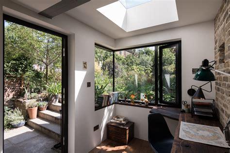 light filled writing studio  outdoor shower
