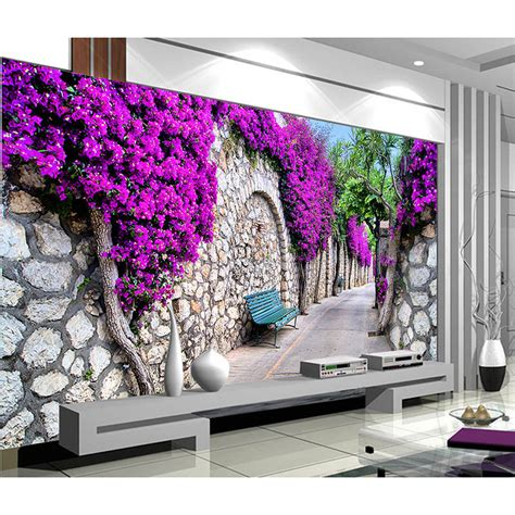 purple flower wallpaper for living room high quality castle road purple flower 3d clear stereoscopic wallpaper mural living room can be