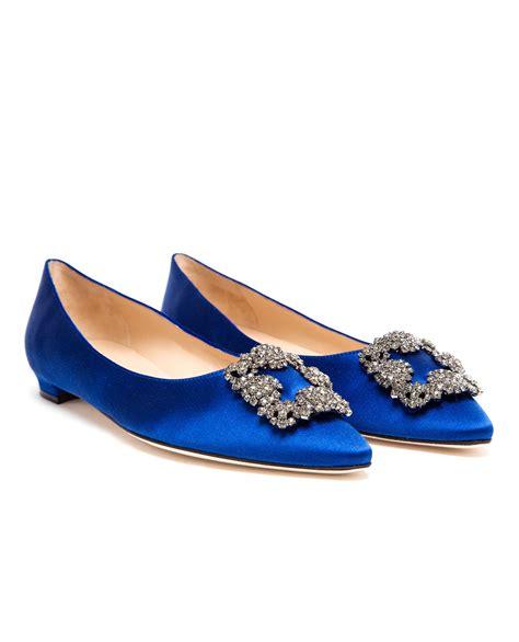 manolo flat shoes lyst manolo blahnik hangisi embellished satin flats in blue