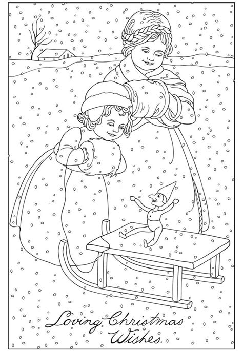 vintage christmas coloring page welcome to dover publications dover pinterest