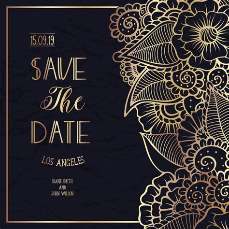 Wedding Card Ornaments by Wedding Invitation Card With Floral Ornament Vector Free