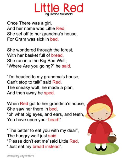 printable toddler stories little red riding hood poem free printable fairy tale