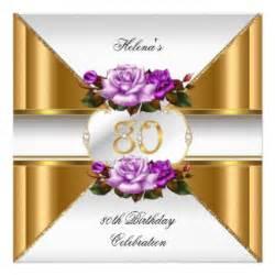 80th birthday party elegant purple gold roses b invitation