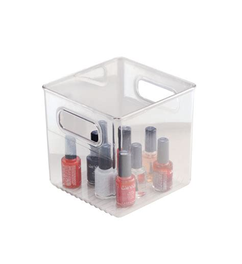 small plastic storage bin in home storage containers