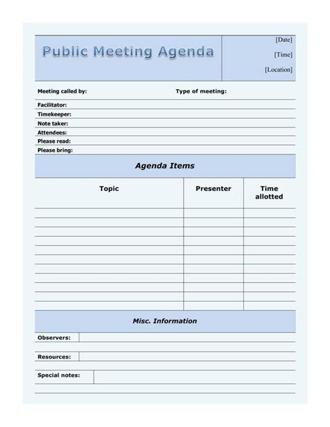 meeting template free meeting agenda template free premium