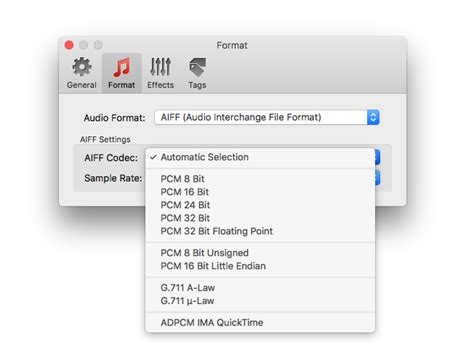 audio format list aiff format settings in audio converters for mac os x