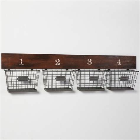 wall shelves with baskets wood and wire wall multi basket eclectic wall shelves