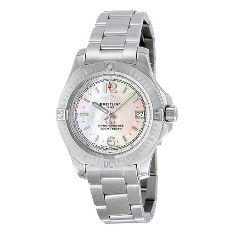 breitling colt of pearl stainless steel