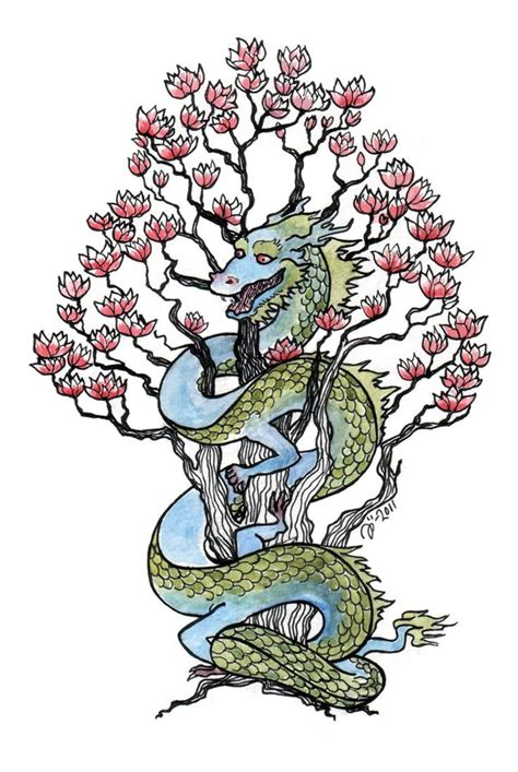 chinese tree tattoo coloured curled around flowered cherry tree