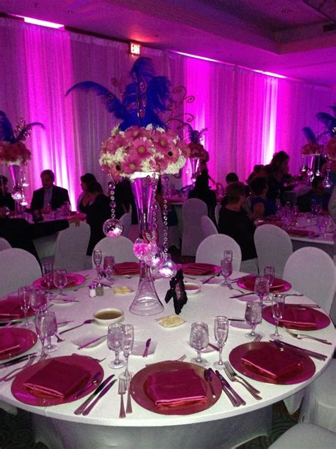 quinceanera themes purple quinceanera centerpiece flowers and lights rental