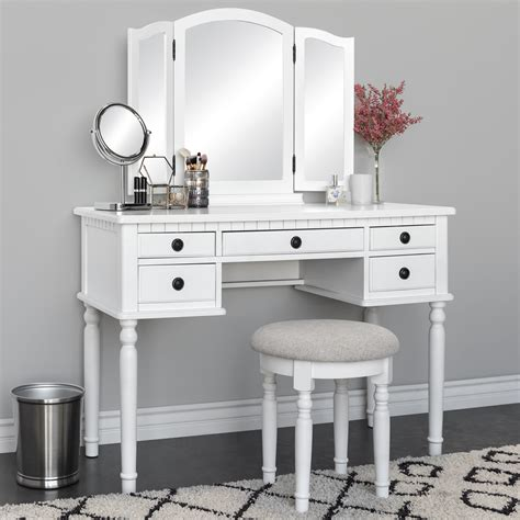choice products makeup cosmetic beauty vanity dressing table set  tri fold mirror stool