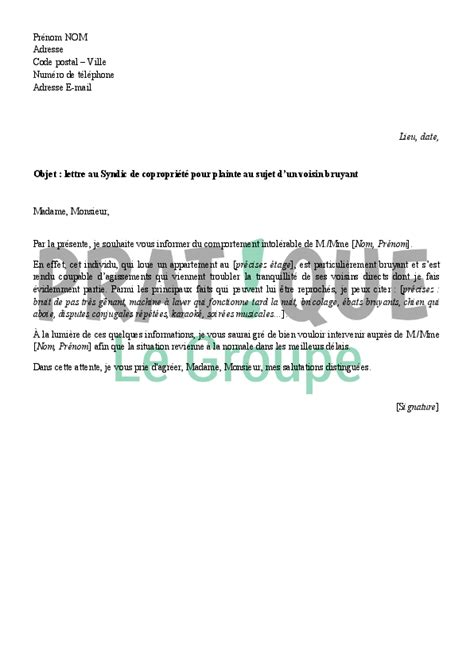 Exemple De Lettre Nuisance Sonore modele lettre nuisance sonore locataire document