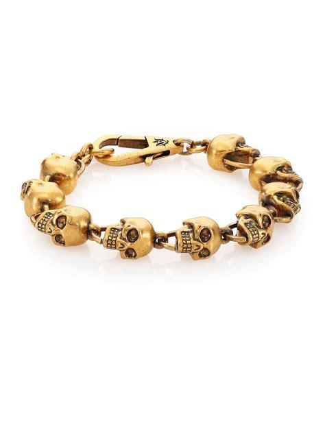 skull bead bracelet mcqueen skull bead bracelet in metallic for