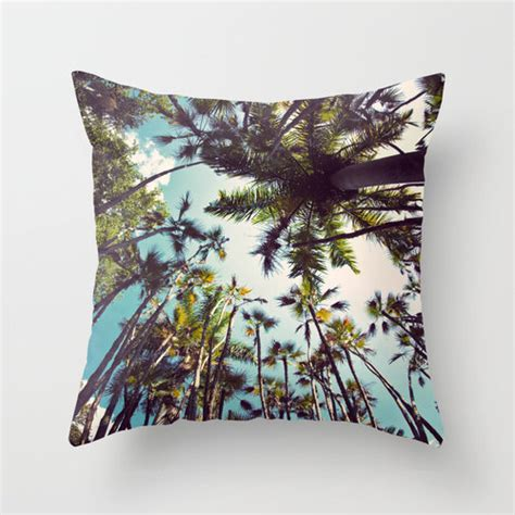 palm tree pillow tropical pillow by pixelgrinphotography