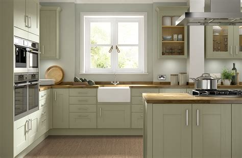 ebony wood sage green shaker door kitchen cabinet with olive green timber shaker kitchen somerset range