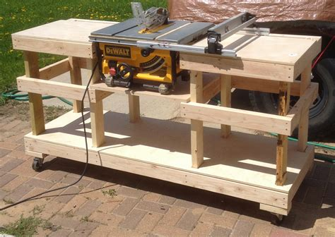 how to make a table saw bench diy table saw stand on casters the wolven house project
