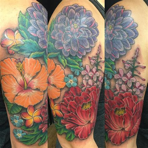 exotic flower tattoos hawaiian flower sleeve tattoos www imgkid the