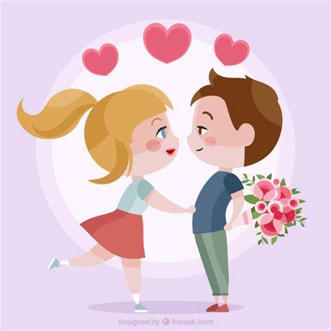 imagenes de amor besandose animadas pareja joven de enamorados descargar vectores premium