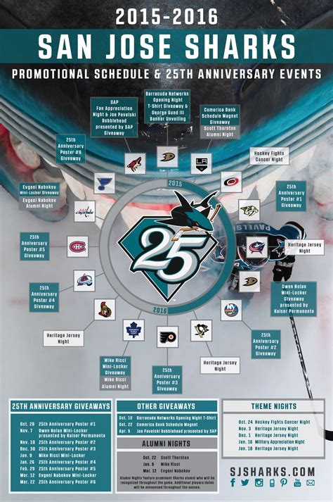 sharks announce 25th anniversary season promotional schedule - Sharks Giveaway Schedule