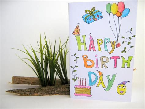 Easy Birthday Card Drawings Happy Birthday Handmade Gift Card For Kids Exiarts