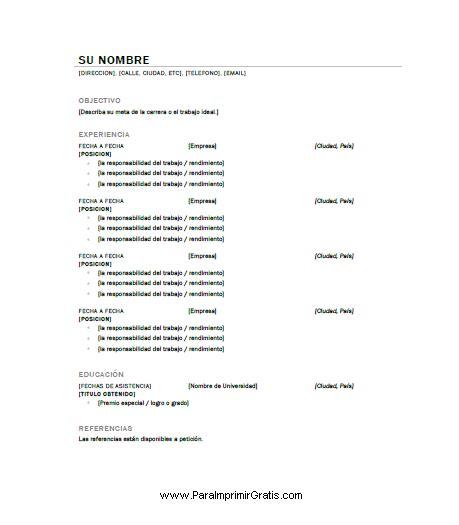 Modelo Curriculum Vitae Basico Para Completar Modelo De Curriculum Vitae Argentina Para Completar Modelo De Curriculum Vitae