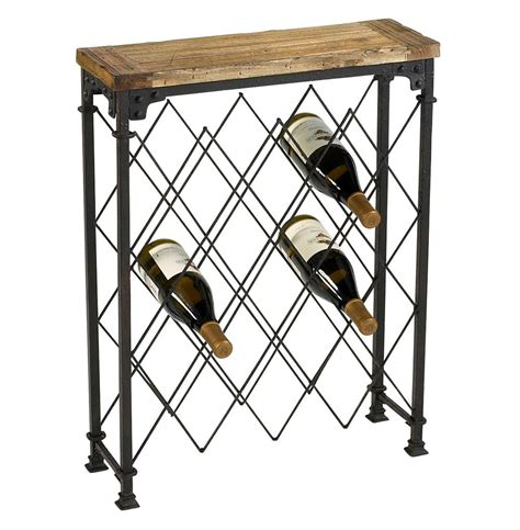 Wood And Metal Wine Rack by Hudson Rustic Iron Reclaimed Wood Wine Rack Kathy Kuo Home