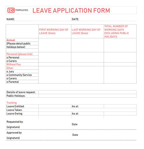 leave application form template  employee  excel