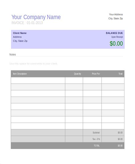 home business receipt template free invoice template 10 free word pdf document downloads