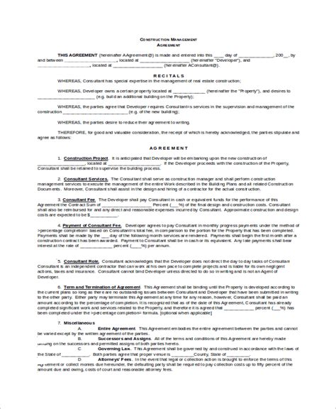 construction management agreement template sle construction management agreement 8 exles in