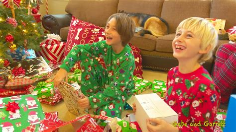 christmas morning  gabe  garrett opening presents youtube