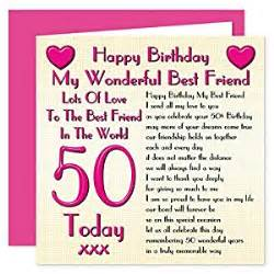 Best Friend 50th Birthday Card Best Friend 50th Happy Birthday Card Lots Of Love To The
