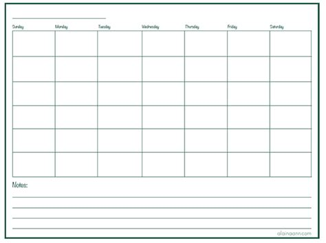 Calendar Printable Blank Blank Monthly Calendar Organized Home Free Printable