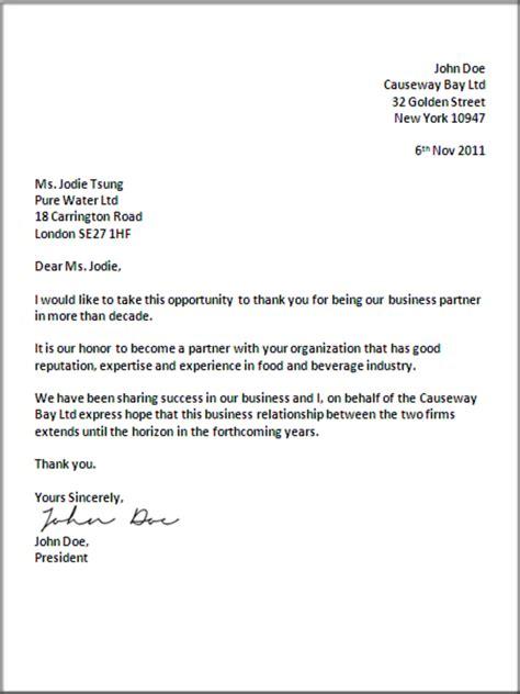 formal business letter format official letter sample