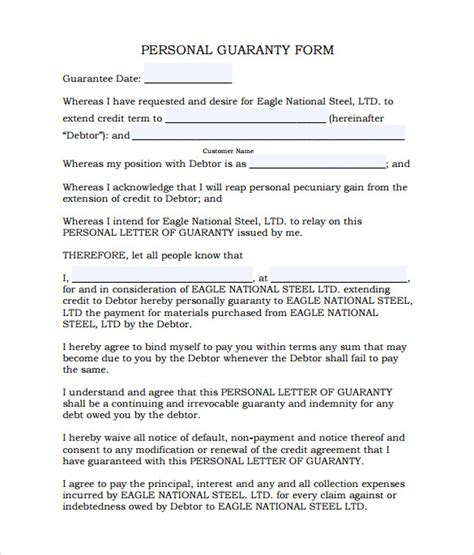 personal guarantee forms   sample templates