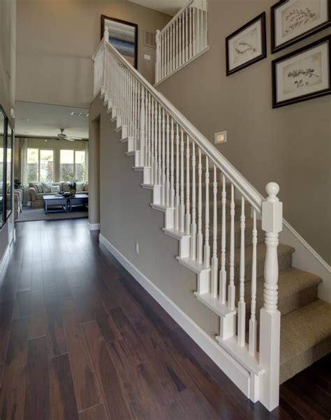 all white banister stairs