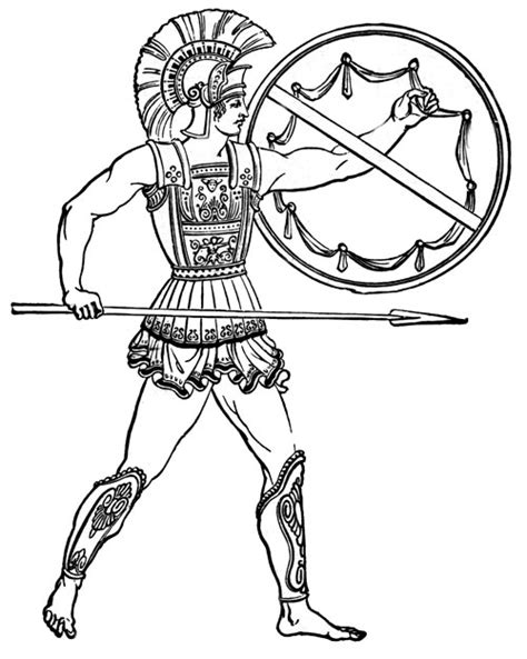 easy greek soldier coloring pages