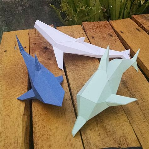Dolphin Papercraft - 3d papercraft printable diy template dolphin whale