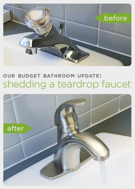 replace bathroom sink faucet our budget bathroom update shedding a teardrop faucet rather square