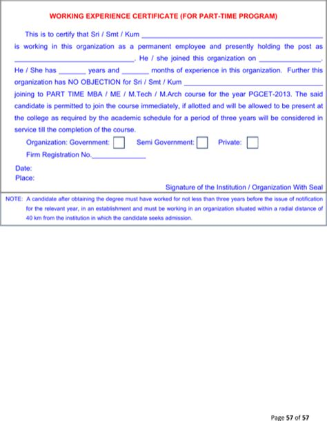 Work Experience Certificate Part Time experience certificate templates for free