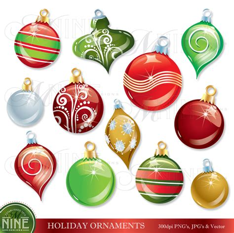 christmas ornaments clip art holiday clipart instant