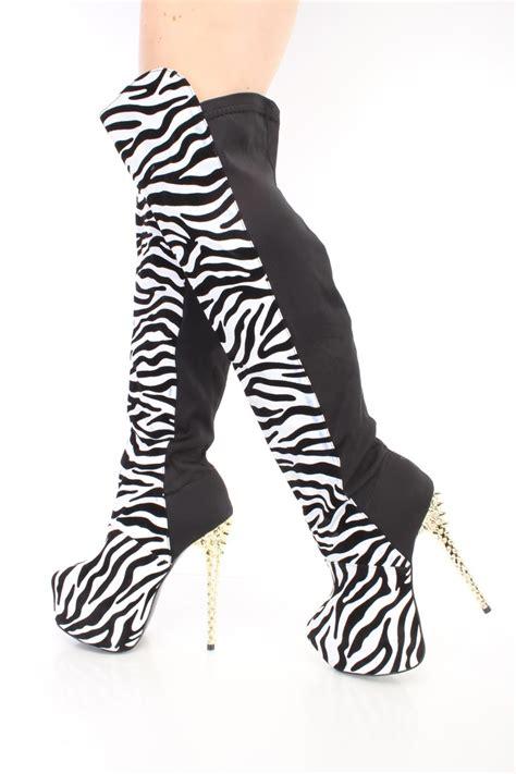 zebra print thigh high stiletto heel boots faux suede