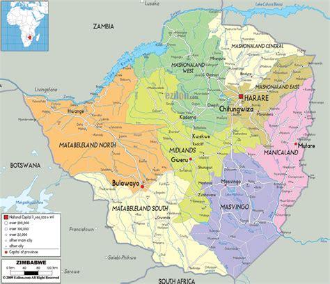 printable map of zimbabwe in africa detailed political map of zimbabwe ezilon maps