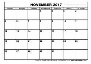 Calendario N November 2017 Calendar Printable