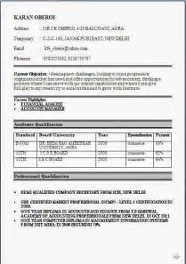 Curriculum Vitae Hotel Job by Bcom Fresher Resume Format