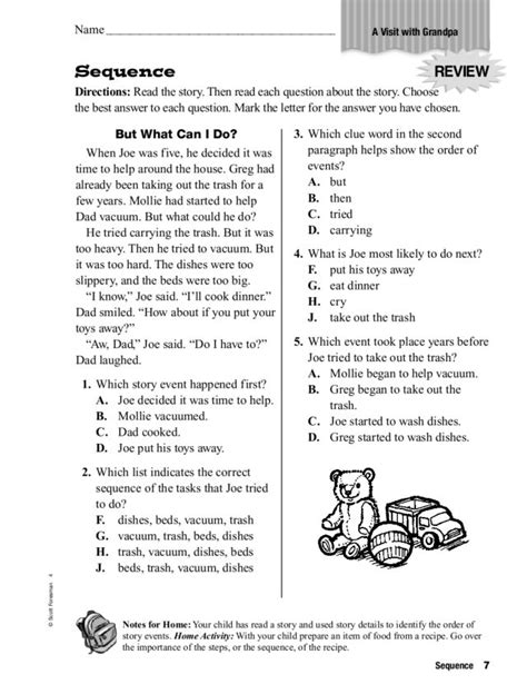 Sequencing Worksheets 4th Grade