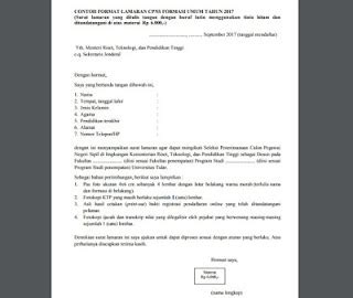 Contoh Surat Lamaran Kerja Cpns Kemenristek Dikti by Contoh Surat Lamaran Cpns Kemenristek Dikti Resmi Baik Dan